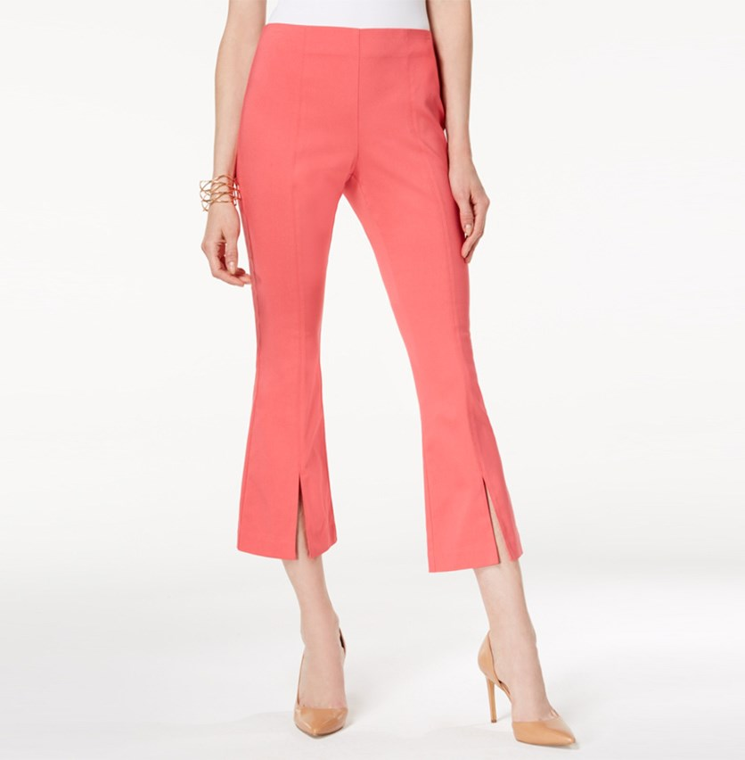 Cropped Split-Hem Pants, Polished Coral