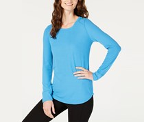 INC International Concepts Ribbed Long-Sleeve T-Shirt, Lyric Blue