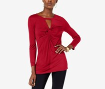 INC International Concepts Twist-Front Keyhole Top, Red