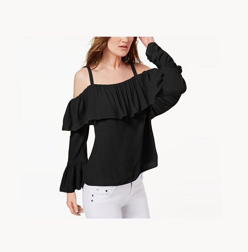 International Concepts Ruffled Cold-Shoulder Top, Deep Black