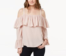 INC International Concepts Ruffled Cold-Shoulder Top, Pale Mauve