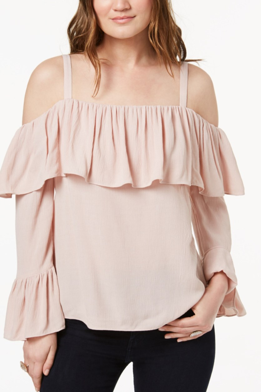 International Concepts Ruffled Cold-Shoulder Top, Pale Mauve