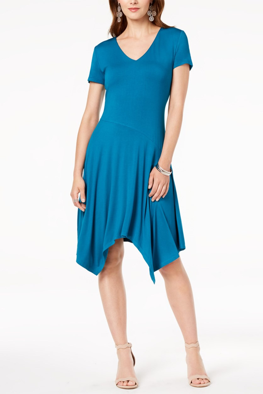 International Concepts Short-Sleeve Handkerchief-Hem Dress, True Teal