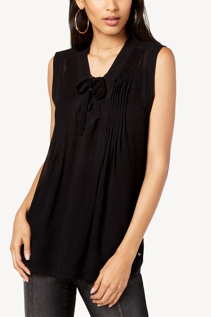 International Concepts Pleated Lace-Up Top, Deep Black