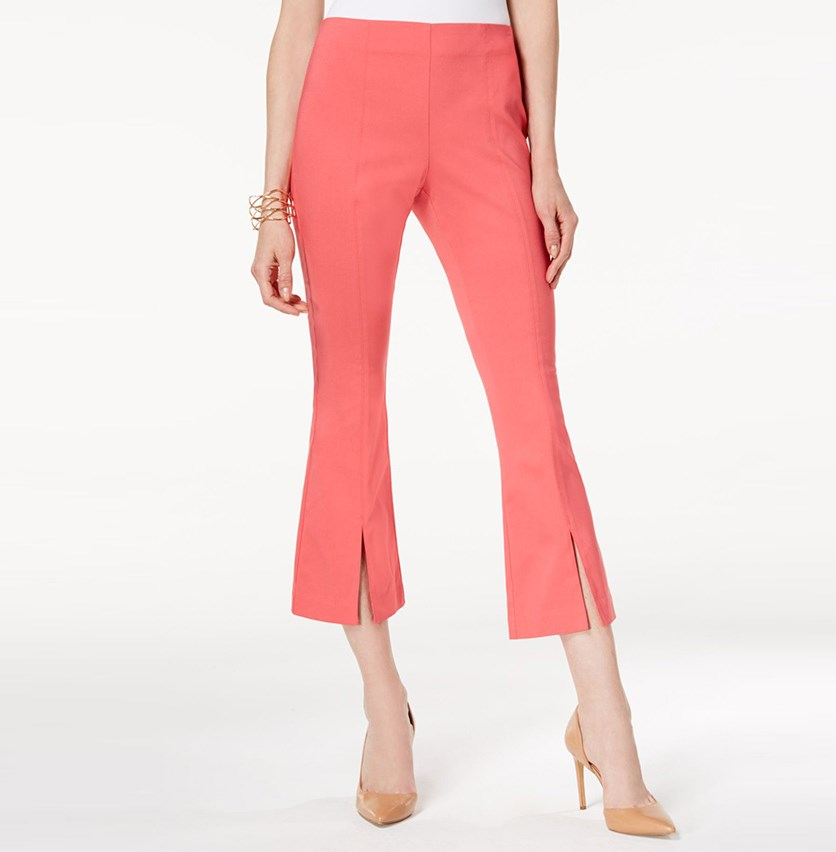 International Concepts Cropped Split-Hem Pants, Polished Coral