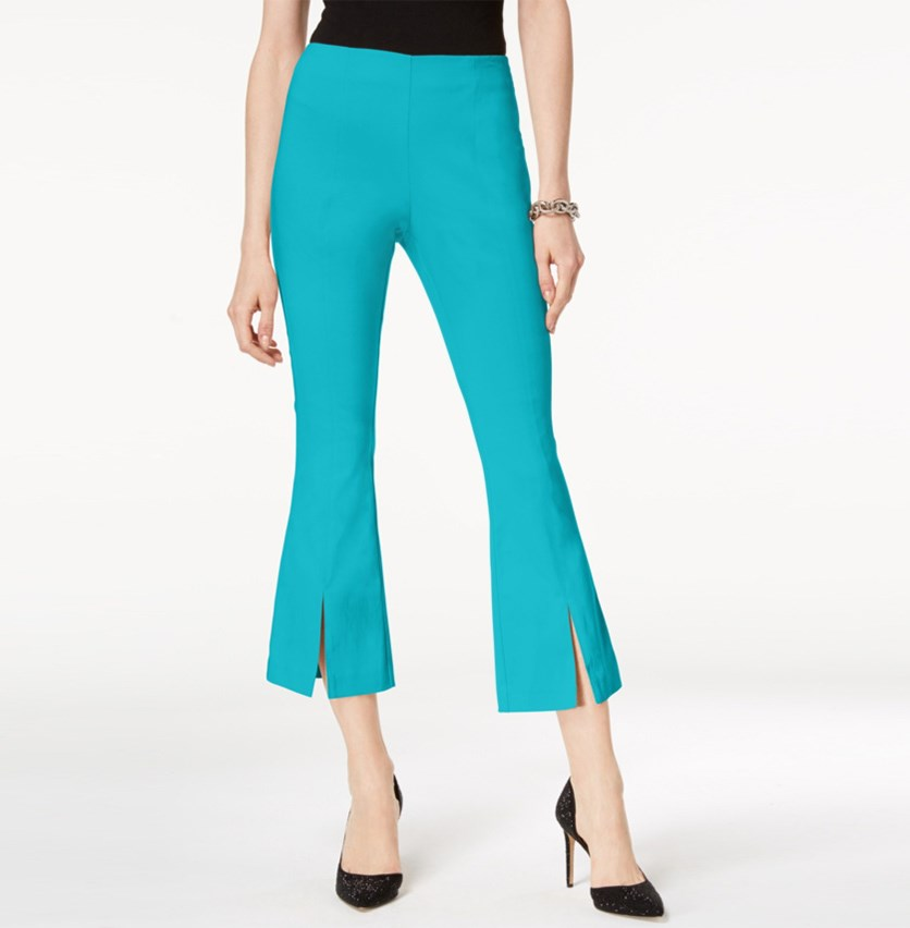 Curvy-Fit Cropped Split-Hem Pants, Teal Glow