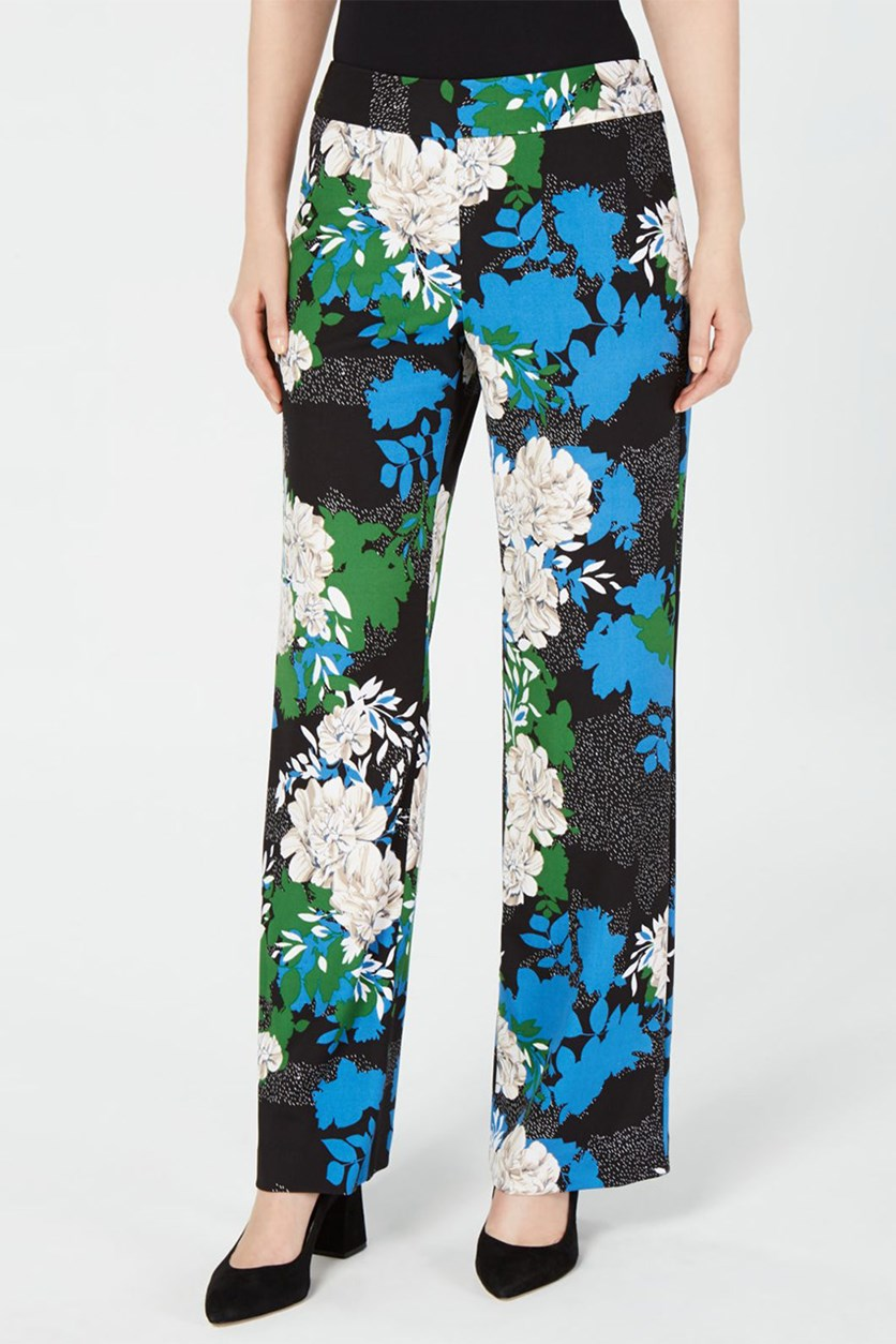 Printed Wide-Leg Crepe Pants, Black Linear
