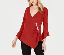 Jm Collection Petite Diamonte Bell Sleeve Wrap Top, New Red Amore