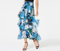 Inc International Concepts Tiered Floral-Print Skirt, Blue Combo