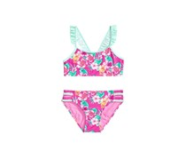 Summer Crush Big Girls 2-Pc. Floral-Print Ruffled Bikini, Pink Combo