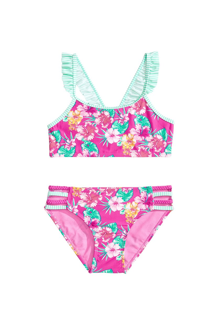 Big Girls 2-Pc. Floral-Print Ruffled Bikini, Pink Combo
