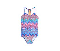 Summer Crush 1-Pc. Crochet-Back Printed Swimsuit, Blue Combo