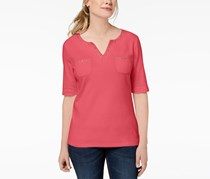 Karen Scott Cotton Spit-Neck Studded Top, Peony Coral