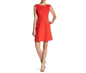 Anne Klein Women's Jacquard Fit & Flare Dress, Red