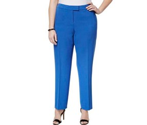 Anne Klein Plus Size Straight-Leg Pants, Blue