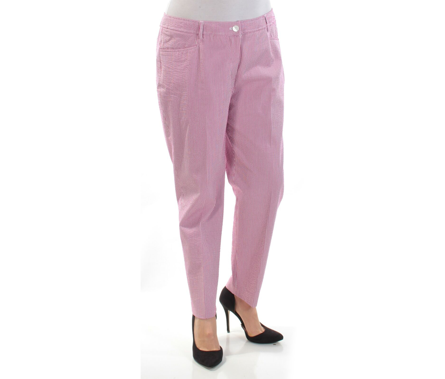 Anne Klein Women's Striped Seersucker Cropped Pants, Pink