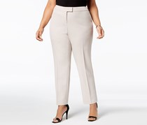 Anne Klein Plus Size Straight-Leg Pants, Oyster Shell