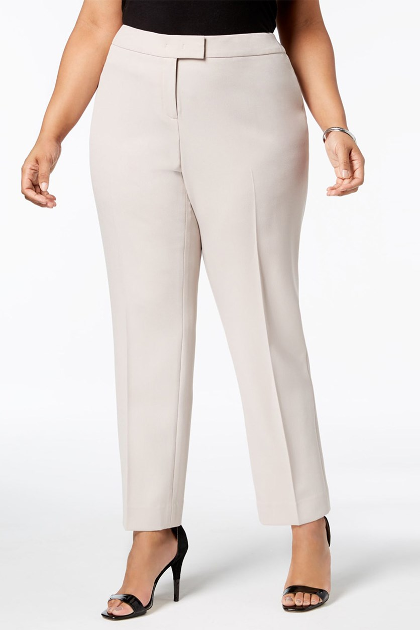 Plus Size Straight-Leg Pants, Oyster Shell
