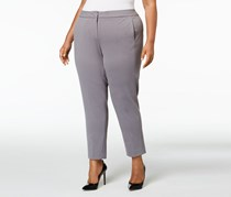 Kasper Plus Size Straight-Leg Pants, Steel