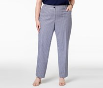 Anne Klein Plus Size Gingham Check Straight-Leg Pants,  Eclipse/White