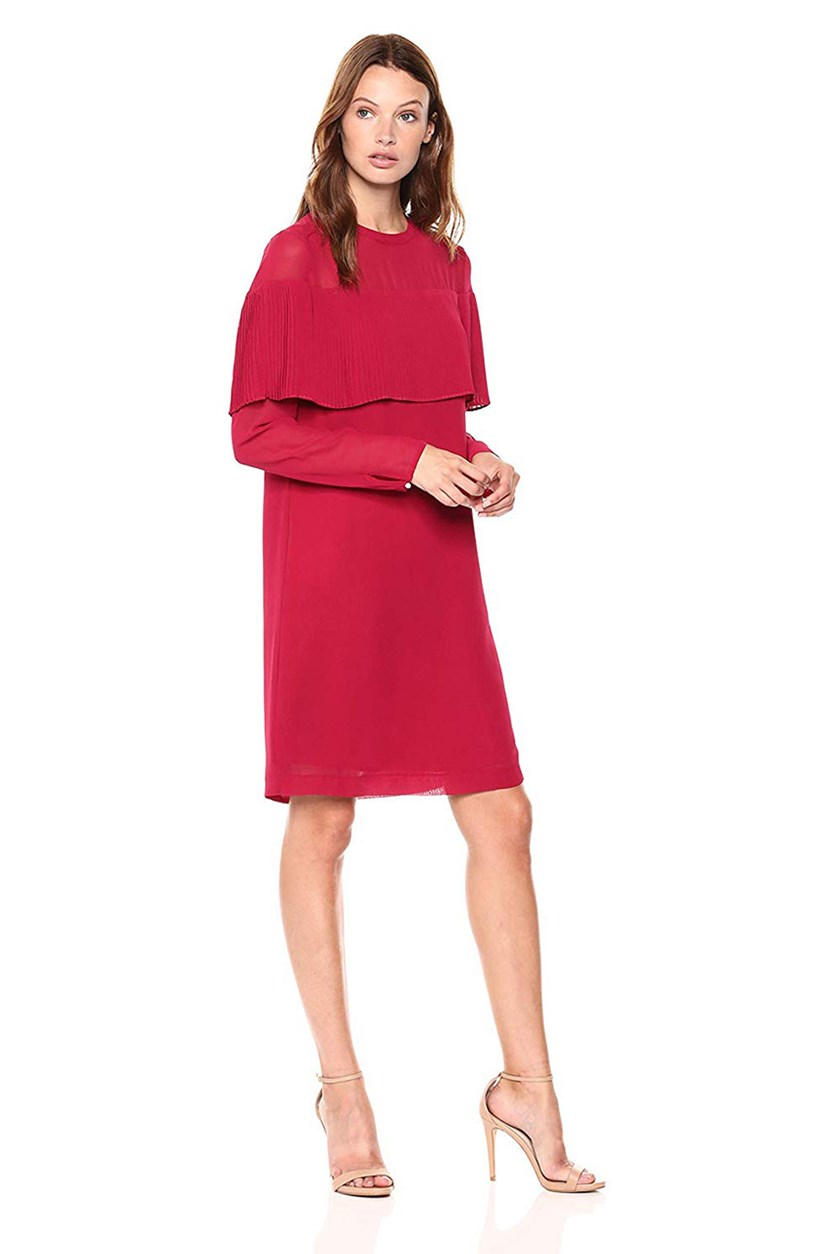 Women's Pleated Overlay Shift Dress, Magenta