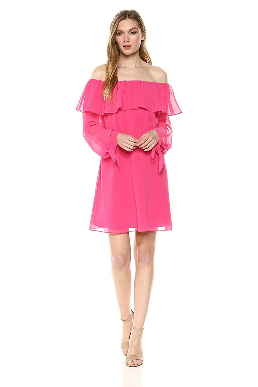 Women's Off-The-Shoulder A-Line Dress, Hot Pink
