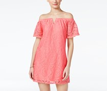 Bcx Juniors' Off-The-Shoulder Lace Shift Dress, Pink