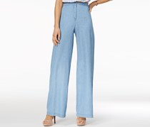 The Edit By Seventeen Women's Chambray Pants, Blue