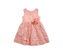 Sweet Heart Rose Lace Overlay Dress, Peach