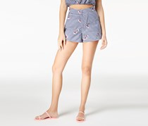 Juniors Embroidered Gingham Short, Navy