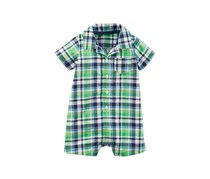 Carters Plaid-Print Cotton Romper, Green Combo
