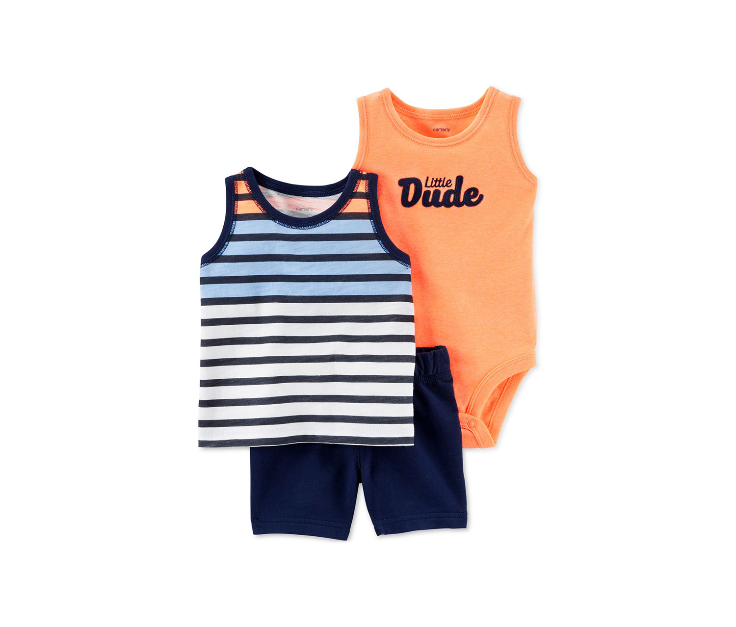 Printed Stripe Set, Navy/Orange