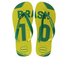 Havaianas Women's Brasil Team Slipper, Yellow/Green