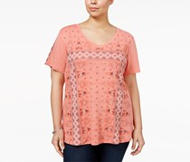 Style & Co Plus Size Printed T-Shirt, Coral Reef