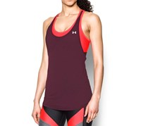 Under Armour Women's Fall 2-in-1 Tank, Maroon/Neon Pink
