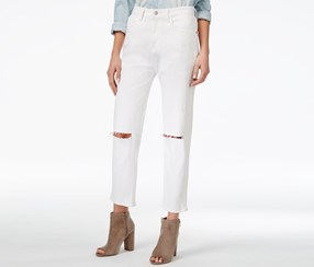 M1858 Women's Frida Ripped Dorset Wash Ankle Jeans, White