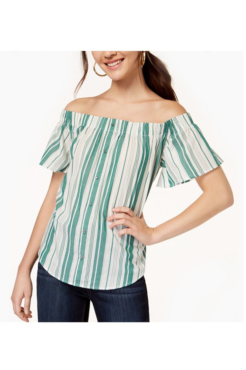 Juniors' Striped Off-The-Shoulder Top, Green/Ivory