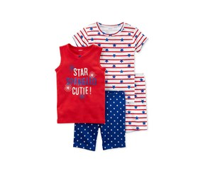 Carter's Baby Girls 4-Pc. Printed Cotton Pajamas Set, Red/Blue