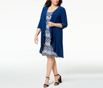 R M Richards Plus Size Printed Dress, Water Peacock