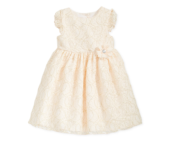 Marmellata Girls' Flutter-Sleeve Lace Dress, Off White