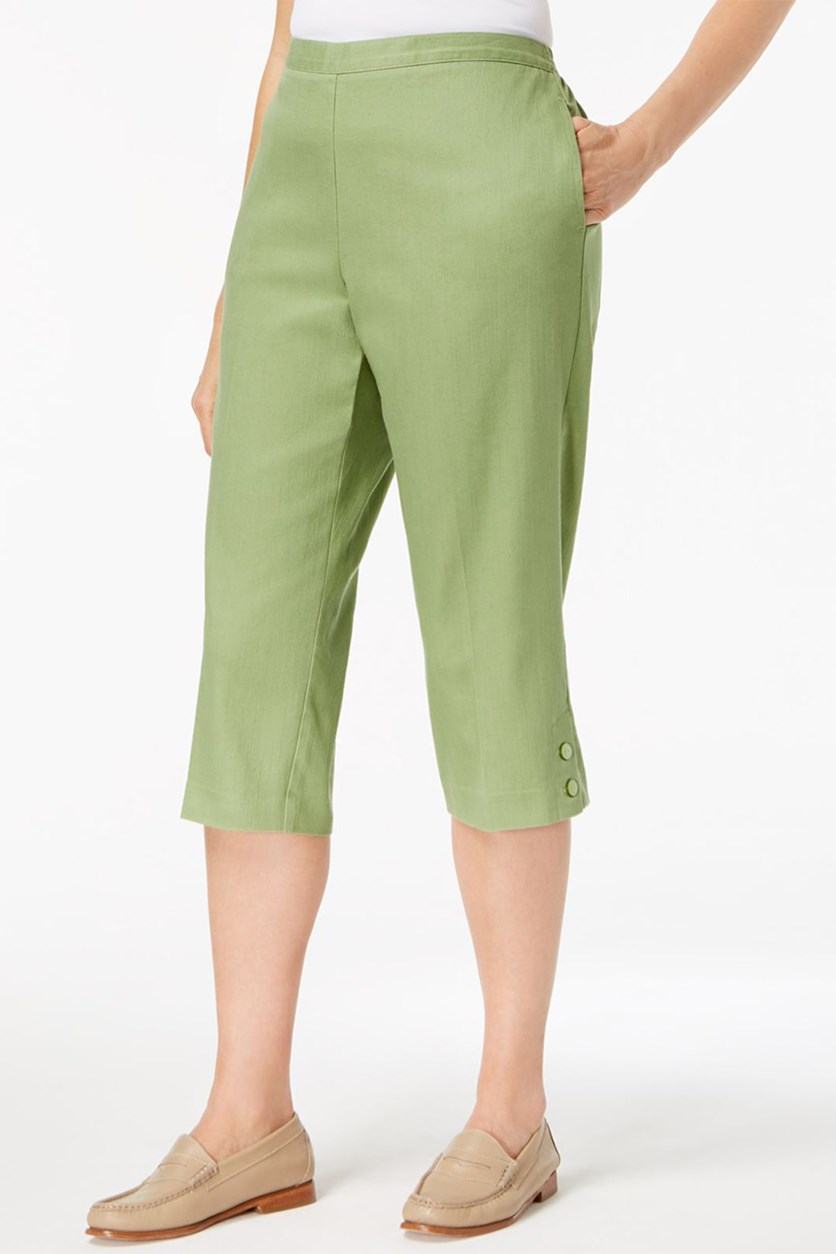 Parrot Cay Pull-On Capri Pants, Sage