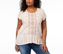 Style & Co. Women's Plus Embroidered Scoop Neck T-Shirt, Crushed Petal