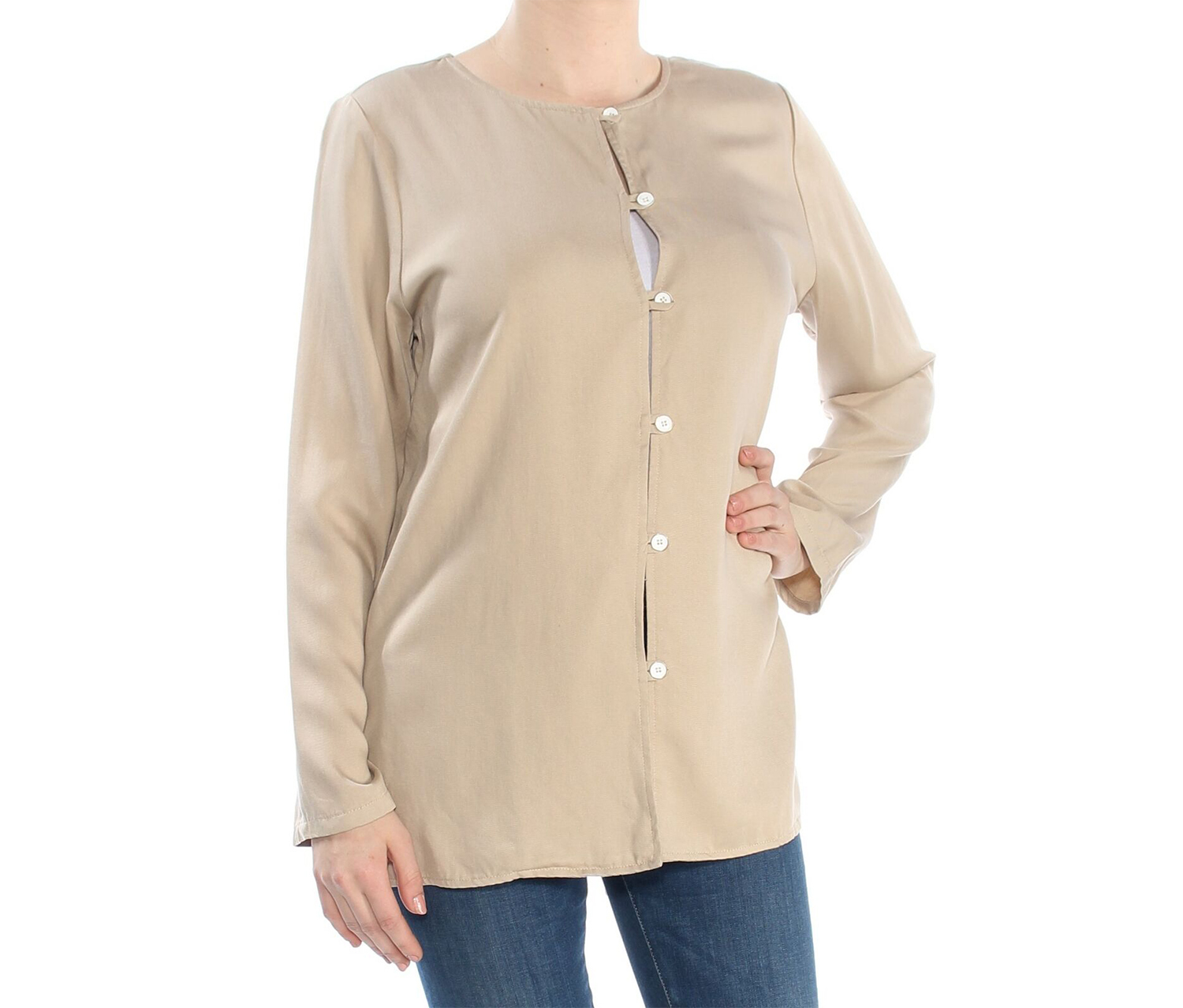 Karen Kane Women's Button Down Jacket, Beige