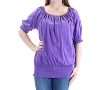 Ralph Lauren Smocked Off-The-Shoulder Top, Purple