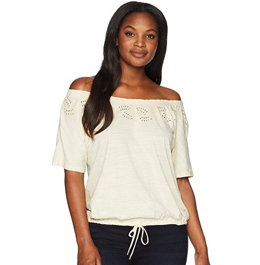 Embroidered Jersey Top, Beige