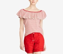 Ralph Lauren Striped Ruffled Off-The-Shoulder Top, Cream/Lipstick Red