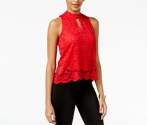 Material Girl Lace Split-Back Tank Top, Red