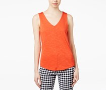 Maison Jules Women's V-Neck Sleeveless Top, Orange