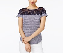 Maison Jules Striped Lace-Yoke Top, Navy