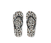 The Children's Place Youth Girls Leopard Flip Flop,  Black Combo